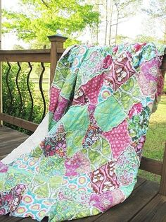 King Size Quilt, Rag, Soul Blossoms in Joy, pink green, ALL NATURAL, fresh modern handmade via Etsy