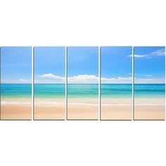 DesignArt Cloudy Horizon over Beach 5 Piece Photographic Print on Wrapped Canvas Set