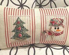 Snowman Pillow, Christmas Tree Pillow, Christmas Pillow, Farmhouse Christmas, Snowman Decor, Red and White Christmas, Christmas Tree Decor