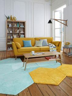 Des tapis hexagonaux pour un salon géométrique - Des tapis originaux pour relooker mon salon