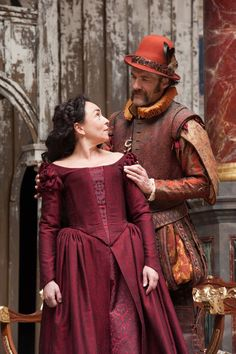 The Taming of the Shrew directed by Toby Frow. Samantha Spiro as Katherina, Simon Paisley Day as Petruchio. Photo (C) Manuel Harlan