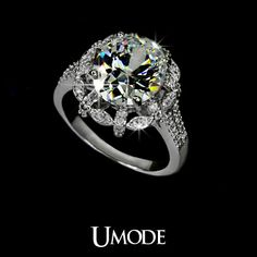 White Gold plated 5ct Egg shape Swiss Cubic Zirconia Noble Flower Wedding Rings (Umode UR0011)-in Rings from Jewelry on Aliexpress.com