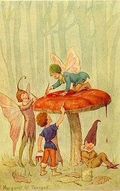Fairies painting toadstool - Illustration by Margaret W. Tarrant for the book 'Forest Fairies' (Marion St John Webb)' Woodland Fairy, Forest Fairy, Woodland Creatures, Magical Creatures, Fairy Paintings, Illustration Noel, Vintage Fairies, Vintage Art, Guache