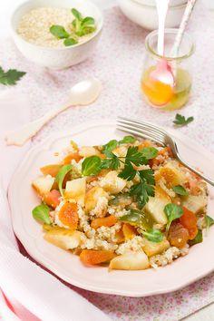 Spanish Quinoa Salad.  Tomatoes, pears, dried apricots, fresh basil, fresh lemon juice... oh my