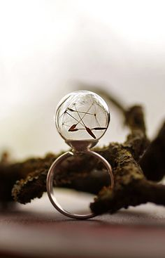 Silver dandelion ring Sterling silver real by RubyRobinBoutique, €40.00