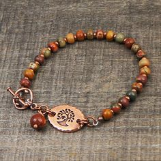 Passereau de bracelet arbre, earthtones chaud, cuivre, perles de jaspe multicolore pierres semi-précieuses rouges creek, 7 3/4 pouces