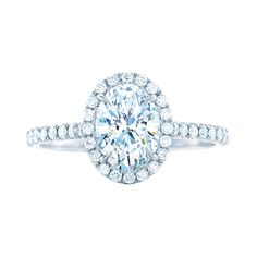 """Brides.com: . """"Soleste"""" bead-set diamonds and an oval diamond center stone set in platinum, price upon request, Tiffany & Co. ENGAGEMENT RING"""