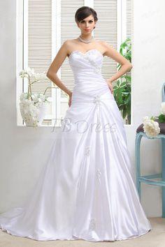Plain A-Line Sweetheart Chapel Train Taline's Wedding Dress