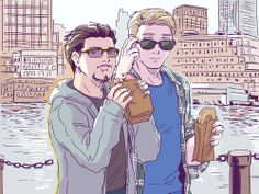 reducto1:  From HERE=DD Because this needs to be happened Steve: I think some paparazzi are following us Tony: *Continue being adorable and eating donut*