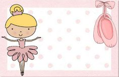 Bailarina Rosa Poá - Kit Completo com molduras para convites, rótulos para guloseimas, lembrancinhas e imagens!