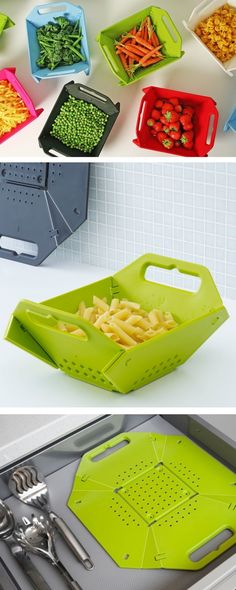 It's called space saving colander for an amazing folding system that makes it flat for easy storage. It has 12 hinges in four corners that lock into corner to turn it into a square sized colander and once locked the corner it's ready to safely contain the food. It's dishwasher safe and made from polypropylene. Price $26.32-$30.73