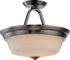 Nuvo Lighting 62/364 Calvin 2 Light LED Semi-Flush Ceiling Fixture Brushed Nickel Indoor Lighting Ceiling Fixtures Semi-Flush