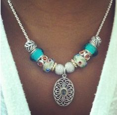 PANDORA Necklace Made With Beautiful Charms Featuring Vintage Lace Pendant.