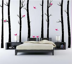Huge 8 Birch Tree Wall Stickers with Birds Forest Graphics Decals Decorations | eBay