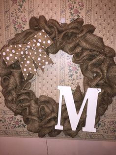 A personal favorite from my Etsy shop https://www.etsy.com/listing/227513707/monogrammed-burlap-wreath-polka-dot