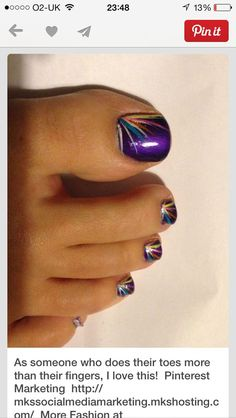 Pedicure Nail Art, Toe Nail Art, Pedicure Colors, Purple Pedicure, Diy Nails, Summer Pedicure Designs, Acrylic Nails, Painted Toe Nails, Pedicure Nail Designs