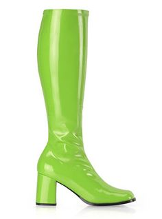 Lime Green Knee High GoGo Boots with 3 Inch Heels 13 Colors Pleaser Shoes GOGO-300