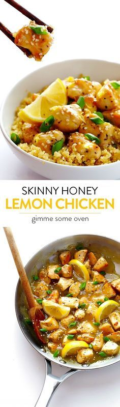 This Skinny Honey Lemon Chicken recipe is quick and easy to make, full of flavor, and much lighter than traditional fried lemon chicken!