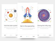 Onboarding Space App by Matteo Pasuto App Ui Design, Mobile App Design, User Interface Design, Mobile Ui, Game Design, Icon Design, Onboarding App, App Design Inspiration, Daily Inspiration