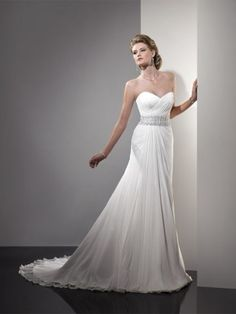 2012 Style A-line Sweetheart  Beading  Sleeveless Sweep / Brush Train Chiffon Wedding Dresses For Brides