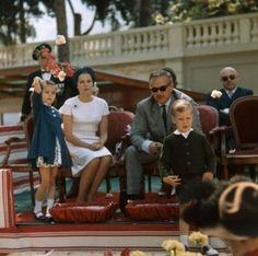 Princess Grace, Prince Rainier, Princess Caroline and Prince Albert on Flowers day in Monaco on June 18, 1962.