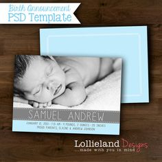 INSTANT DOWNLOAD- Baby Boy Birth Announcement Template- Samuel
