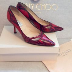 521df99e0b0d Details about ONE OFF SHOES by Jimmy Choo - Red Snakeskin - Margo - Size 39