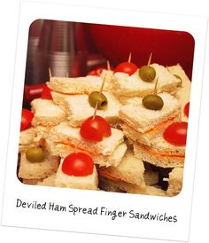 """Deviled Ham Sandwiches (aka """"Mezcla"""") Read all about the party, get the playlist. Mini Sandwiches, Finger Sandwiches, 1960s Party, Retro Party, Retro Recipes, Vintage Recipes, 1960s Food, Retro Food, Appetizer Recipes"""