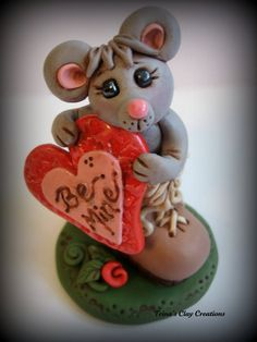 #Polymer #Clay Valentine's Day #Mouse in a by trinasclaycreations @Trina Prenzi $29.00