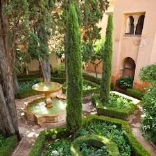 Amazing Garden With Large Fountain And Italian Cypress Trees : Garden With Italian Cypress Trees. The italian cypress is a strikingly thin evergreen o… - Lifewithobama Tall Potted Plants, Potted Trees, Indoor Plants, Italian Courtyard, Italian Garden, Italian Patio, Tuscan Garden, Tuscan House, Italian Cypress Trees