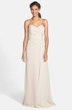 avail in oearl and petal $220 chiffon Jim+Hjelm+Occasions+Strapless+Crinkle+Chiffon+Gown+available+at+#Nordstrom