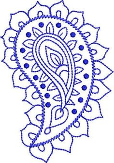 Paisley embroidery pattern | Bluework Paisley embroidery design | This would be a beautiful henna design