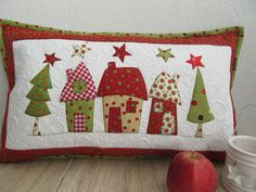 "tisch weihnachten Pillows - Quilt Pillow ""Christmas"" - a unique product by Aksiny on DaWanda - # Designerstück Christmas Patchwork, Christmas Cushions, Christmas Applique, Christmas Sewing, Christmas Pillow, Christmas Stockings, Christmas Diy, Christmas Projects, Christmas Crafts"