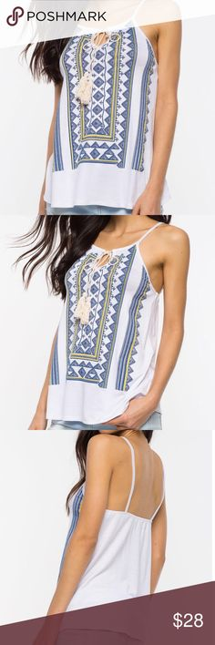 • COMING SOON • Boho Print Cami Love this top! The print is adorable & the tasseled tie front gives it a nice accent. 100% Polyester  ✖️ No trades / price firm   Please select your size at checkout Tops Camisoles