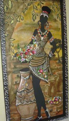 Cardboard Box Crafts, Metal Crafts, Diy Wall Art, Diy Art, Aluminum Foil Crafts, Emboss Painting, Pewter Art, African Art Paintings, African American Art