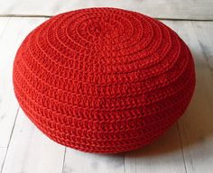 Red crochet floor cushion