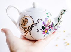 Teapot Tea Party in Spring Garden  painted ceramics by CraftUnikat, $58.00