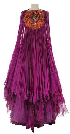 Helen Rose vintage fashion style iconic designer film movies costume wardrobe dress gown evening wear pink purple fuchsia ethnic boho embroidered tapestry silk accordion sheer 70s