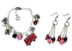 Parure LONDON Boucles d'oreille et Bracelet à breloques argentés sur le thème de l'Angleterre : Parure par milaekem-bijoux