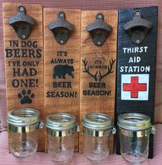 The perfect gift for the man, or woman, in your life who loves any drink that come in a bottle! Diy Bottle Opener, Wall Mounted Bottle Opener, Beer Bottle Opener, Beer Bottles, Cool Bottle Openers, Woodworking Projects Diy, Diy Wood Projects, Wood Burning Crafts, Wood Creations