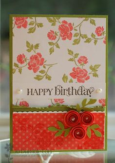 Stampin' Up! ... handmade birthday card ... orange and olive combine with a lively look .. luv the rolled flowers with perarl cents ... tone on tone stamping on patterned paper ... great card!