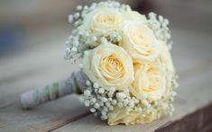 Download wallpapers wedding bouquet, white roses, bouquet of the bride, white flowers, decoration, wedding concepts