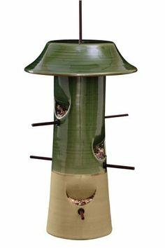 Image of Green Ceramic Bird Feeder