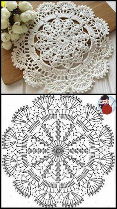Crochet Circle Pattern, Free Crochet Doily Patterns, Crochet Coaster Pattern, Crochet Doily Diagram, Crochet Circles, Crochet Designs, Crochet Crafts, Thread Crochet, Crochet Projects