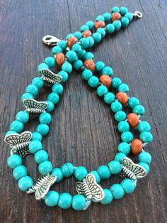 Turquoise bracelet with orange beads  by Jewelrymadebynature