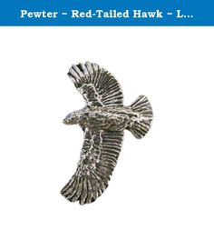 Pewter ~ Red-Tailed Hawk ~ Lapel Pin / Brooch ~ B056. Show your love for the Beautiful Red-Tailed Hawk with this Hand Made Pewter pin, it makes a wonderful gift for any of your friends or that special someone. Hand Made in the USA with Lead-Free Pewter by Creative Pewter Designs. This beautiful lapel pin was hand sculpted in clay and then made into a mold to be cast in Lead-Free Fine English Pewter. After casting, each piece is hand finished and polished for a beautiful antique look…