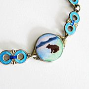 Rare Norne Aksel Holmsen Bracelet Sterling Enamel Norway Deco Bear