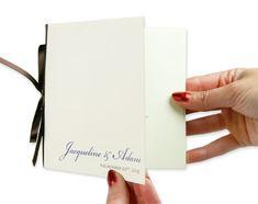 Simple! 5 1/4 inch square wedding program ecru, purple, and brown