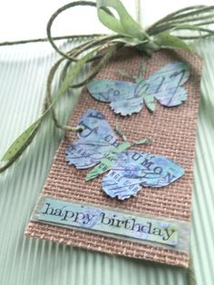Birthday tag Tim holtz tag  butterfly die cut Tim holtz rubber stamps  Tim holtz distress ink paint and stains mixedmedia  burlap ribbon jute paper scrapbooking paper pairofpetals.com
