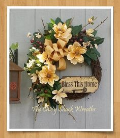 Magnolia Wreath, Grapevine Wreath, Spring Wreath, Summer Wreath, Bless This Home Plaque, Southern Charm, Door Wreath by TheChicyShackWreaths on Etsy